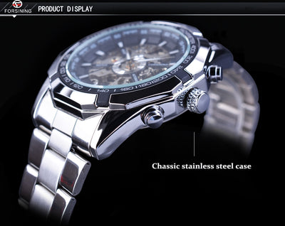 tainless Steel Waterproof Mens Skeleton Watches side view