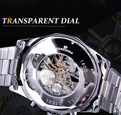tainless Steel Waterproof Mens Skeleton Watches transparent