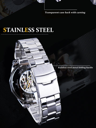 tainless Steel Waterproof Mens Skeleton Watches back