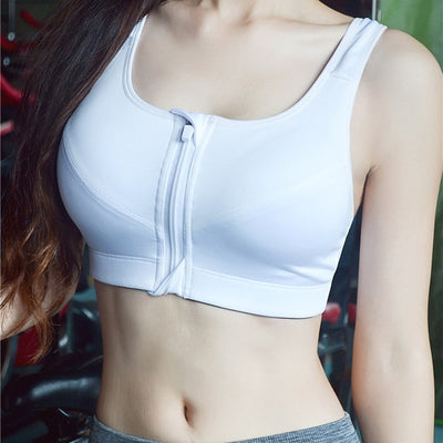 Best High Impact Padded Sports Bra white zipper