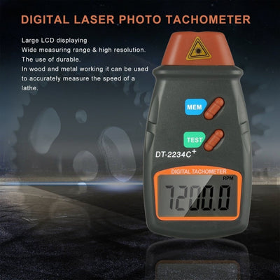 Digital Laser Photo Tachometer in black background
