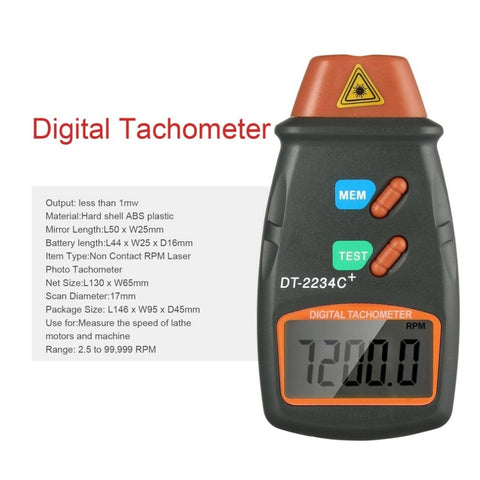 Digital Laser Photo Tachometer Front with features
