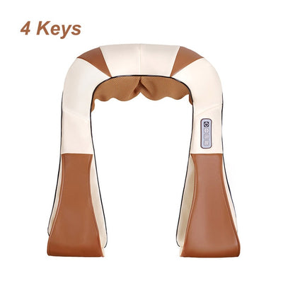 Infrared Back Neck Shoulder Massager brown white 4 keys