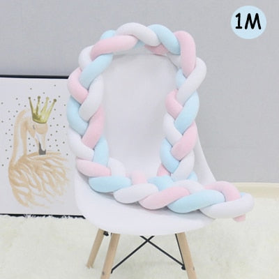 Knotted Braid Pillow Baby Crib Bumpers blue white pink 1m