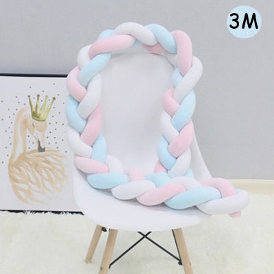 Knotted Braid Pillow Baby Crib Bumpers blue pink white 3M