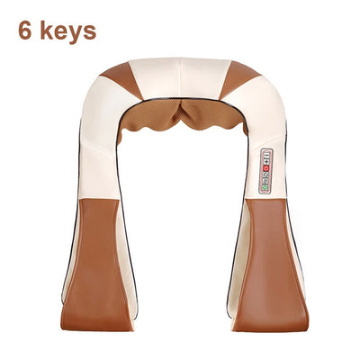 Infrared Back Neck Shoulder Massager 6 keys brown white