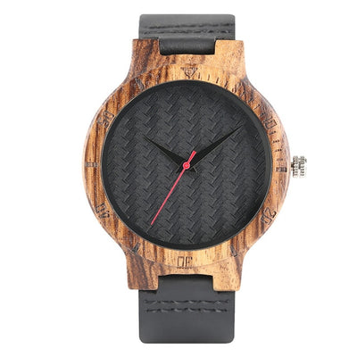 Bamboo Modern Soft Leather Wooden Watches black strap and dial