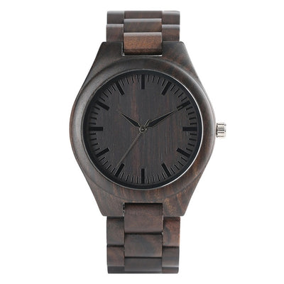 Bamboo Modern Soft Leather Wooden Watches pure black wood