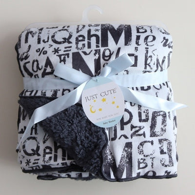 Personalized Fleece Swaddle Receiving Baby Blankets - black white letters
