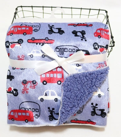 Personalized Fleece Swaddle Receiving Baby Blankets - violet red car