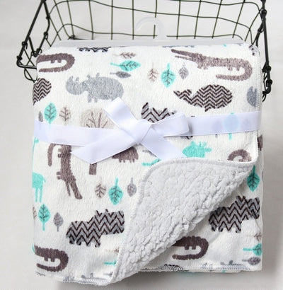 Personalized Fleece Swaddle Receiving Baby Blankets white details