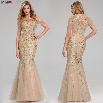 Short Sleeve Lace Mermaid Prom Dresses gold