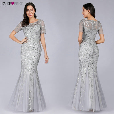 Short Sleeve Lace Mermaid Prom Dresses silver