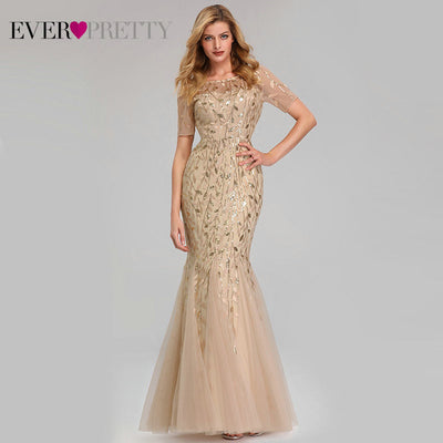 Short Sleeve Lace Mermaid Prom Dresses gold front