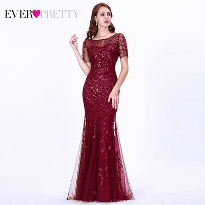 Short Sleeve Lace Mermaid Prom Dresses burgundy front