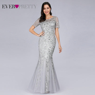 Short Sleeve Lace Mermaid Prom Dresses silver front