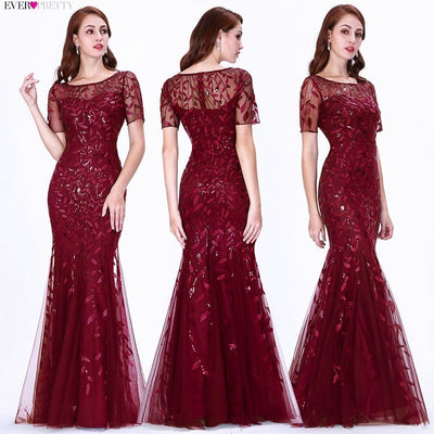 mermaid prom dresses burgundy