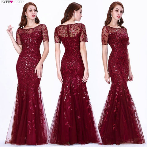 Short Sleeve Lace Mermaid Prom Dresses red different sizes