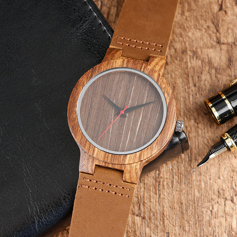 Bamboo Modern Soft Leather Wooden Watches on the table