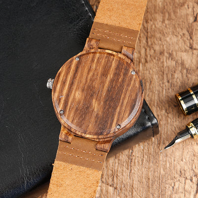 Bamboo Modern Soft Leather Wooden Watches back brown