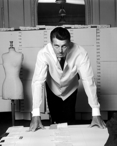 Hubert de Givenchy in black and white at his design studio