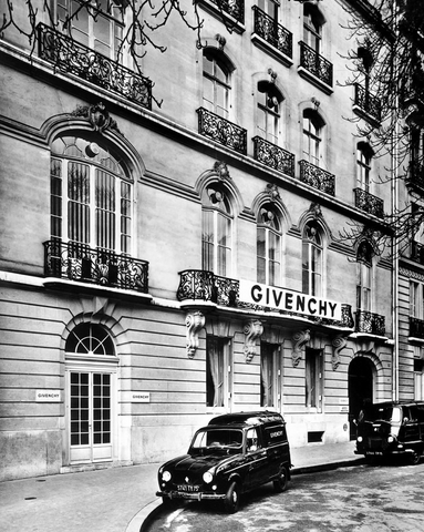 Givenchy shop front on Plaine Monceau in black and white