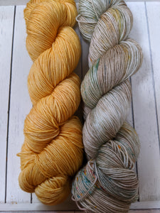 Shawl Set: Autumn Wheat and Curiosity - Birch Hollow Fibers