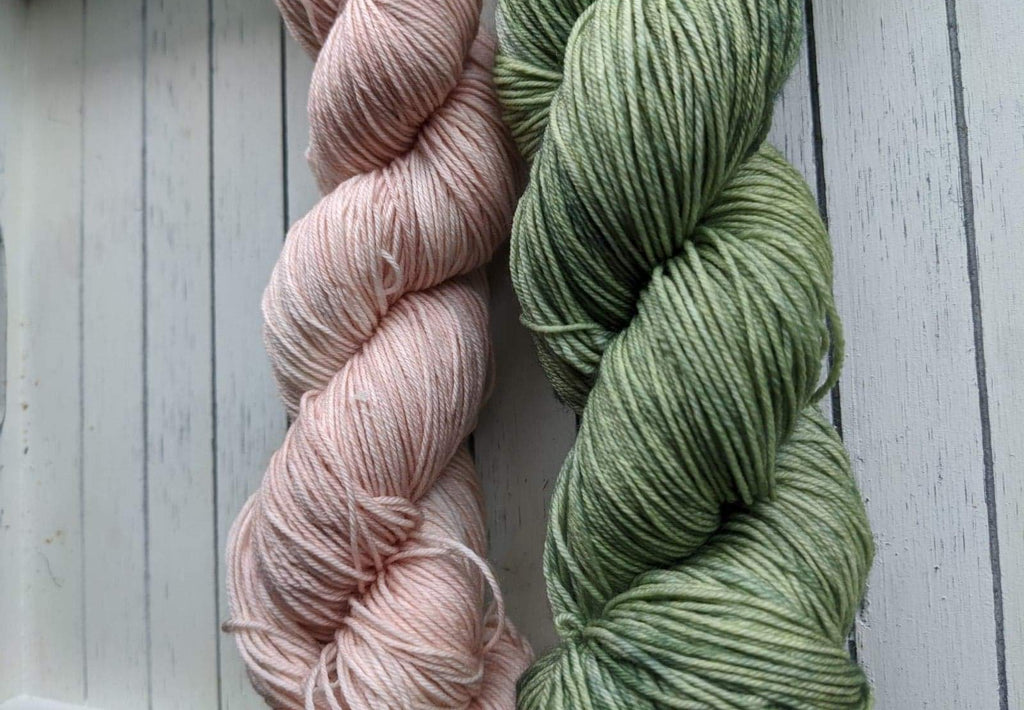 Shawl Set: Winter Blush and Herb Patch - Birch Hollow Fibers