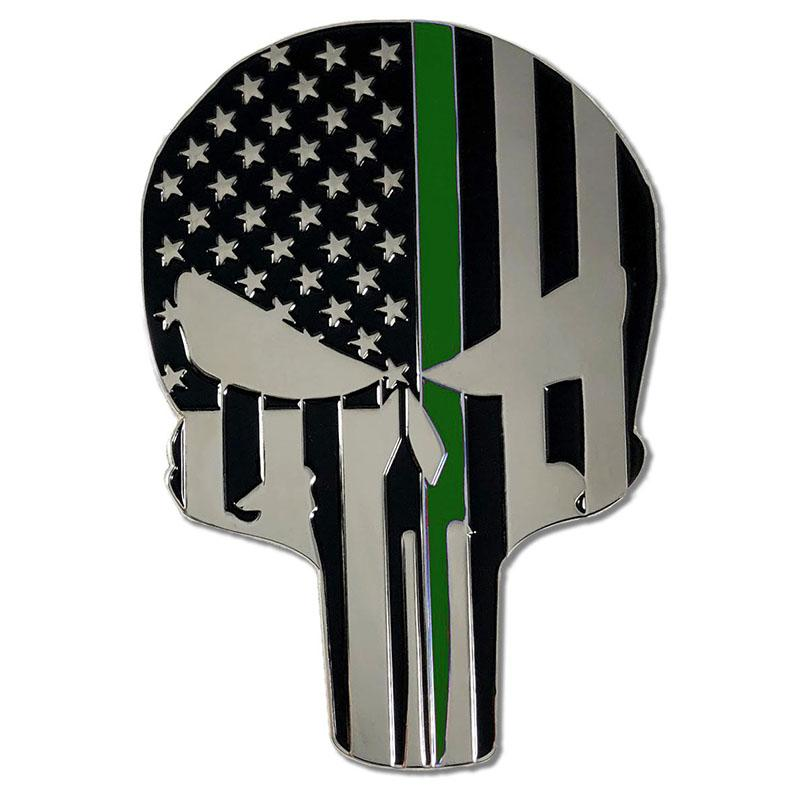 Chrome Skull Thin Green Line Vehicle Emblem