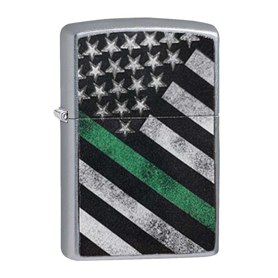 Thin Green Line Zippo Lighter, Street Chrome