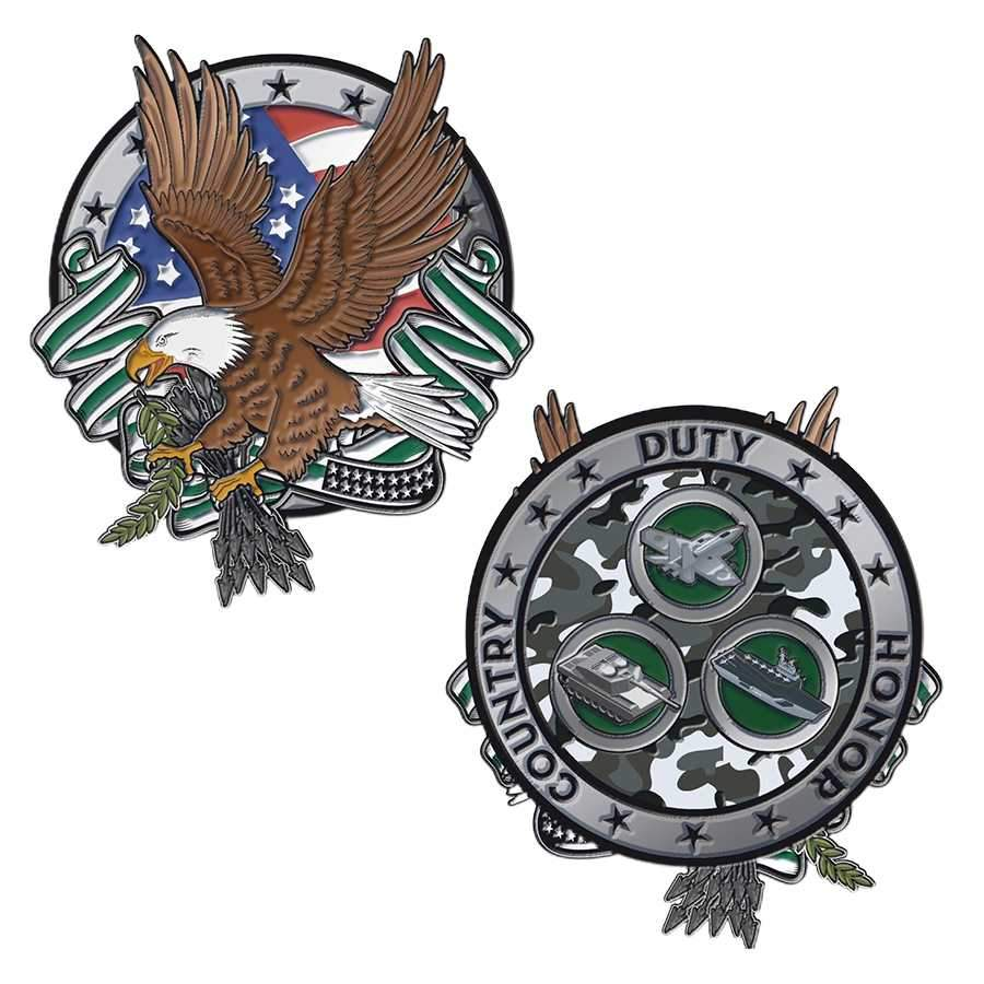 Thin Green Line Challenge Coin - Eagle