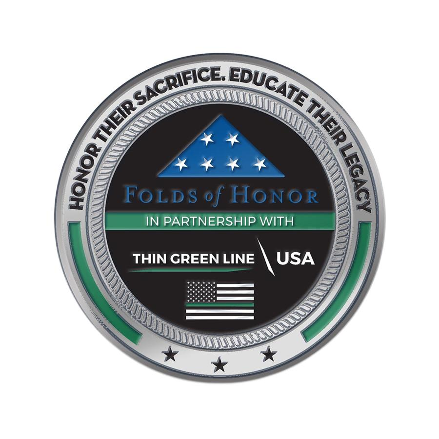 Thin Green Line Challenge Coin - Folds of Honor