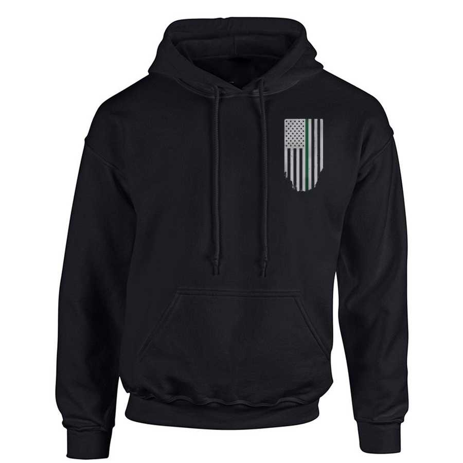 Men's Hoodie - Thin Green Line Flag Honor & Respect