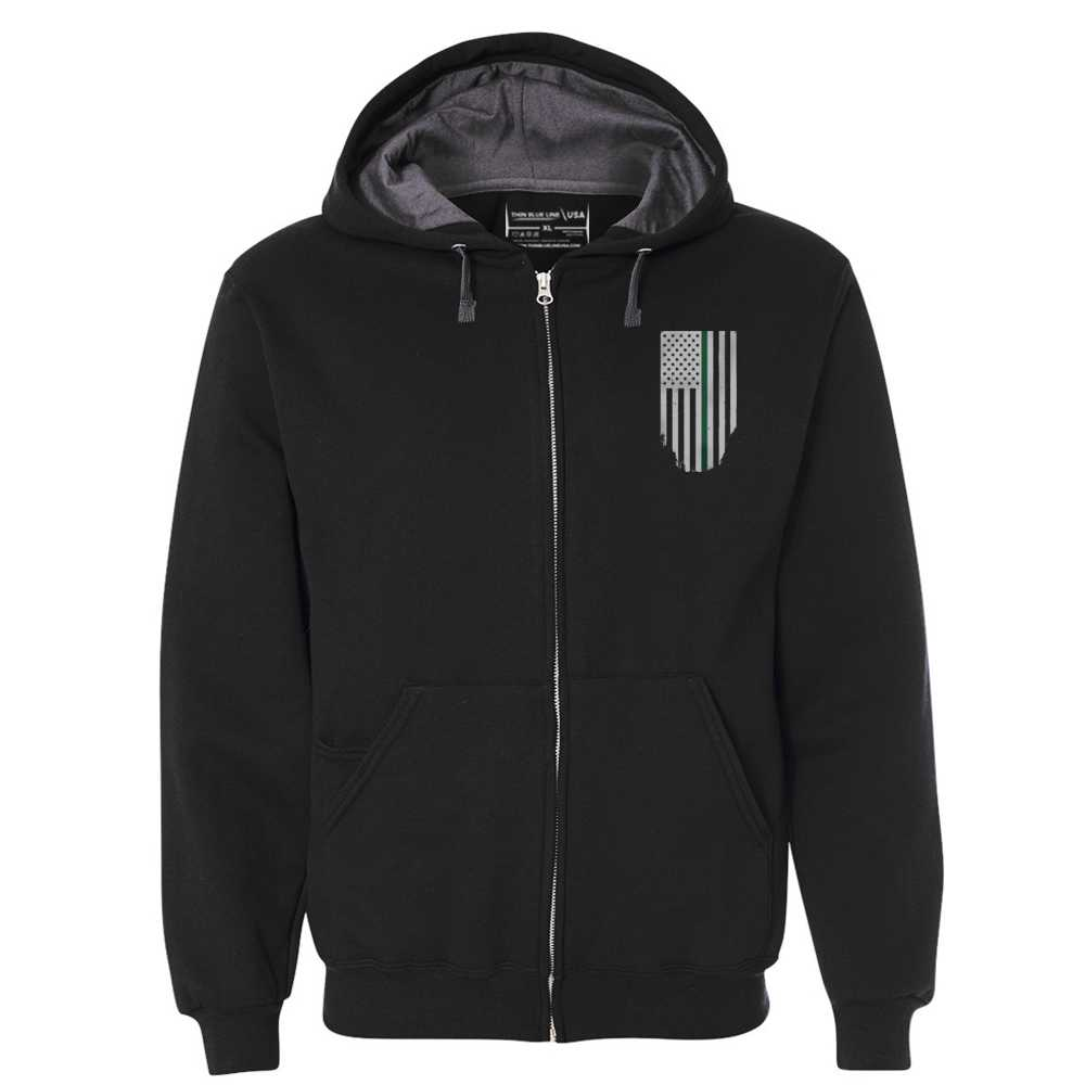 Full Zip - Honor to & Respect Thin Green Line American Flag - Unisex