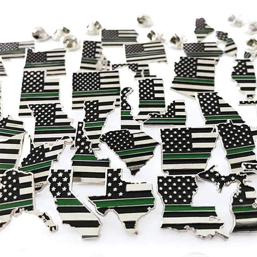 "3/4"" State Pins - Thin Green Line USA"