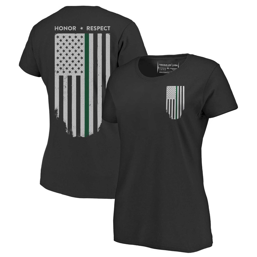 Women's T-Shirt - Thin Green Line Flag Honor & Respect