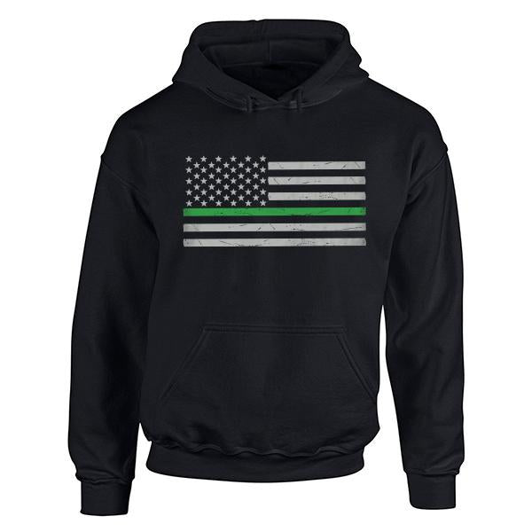 Hoodie Unisex - Classic Thin Green Line, Black