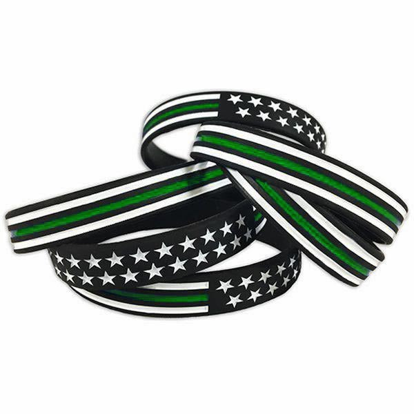 Thin Green Line American Flag Bracelet