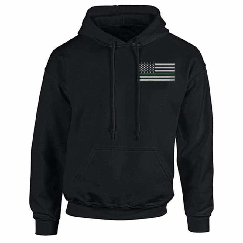 Men's Hoodie - Thin Green Line Remember