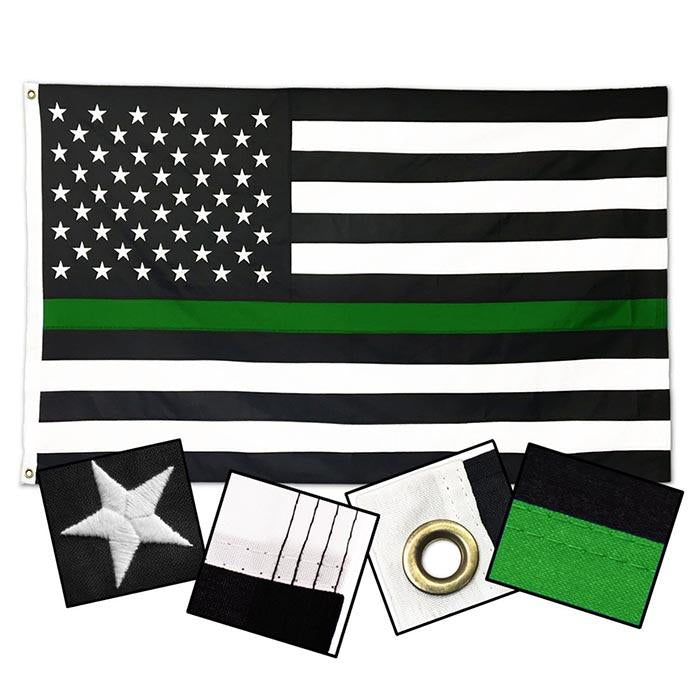 DuraSleek - Thin Green Line American Flag - Sewn & Embroidered 3 x 5 Feet