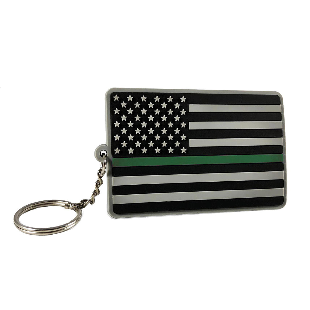 Thin Green Line American Flag Keychain