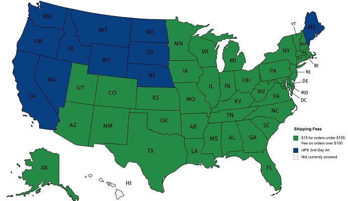Map of US states covered by Marble Creek shipping