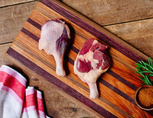 Pasture-raised duck leg quarters from Marble Creek Farmstead in Sylacauga, AL
