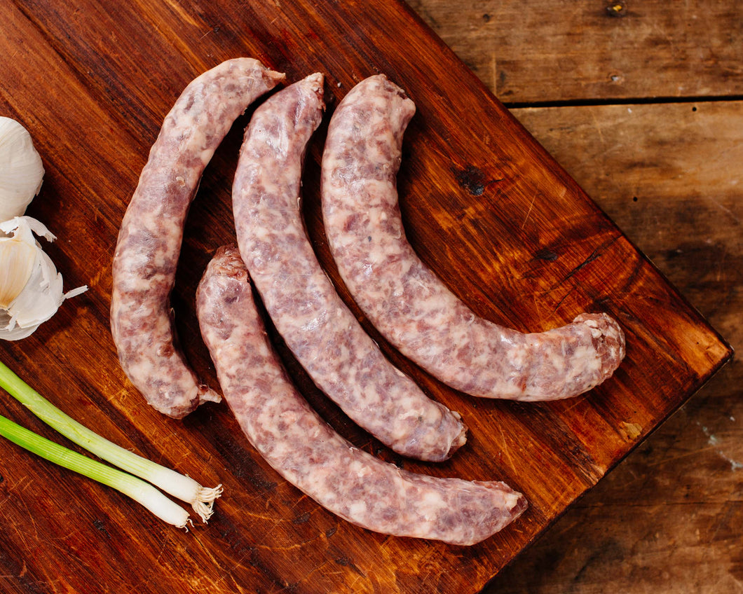Pastured Garlic Bratwurst from Marble Creek Farmstead in Sylacauga, AL