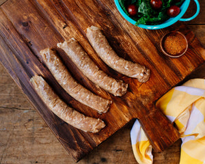 Pasture-raised chicken sausage from Marble Creek Farmstead in Sylacauga, AL