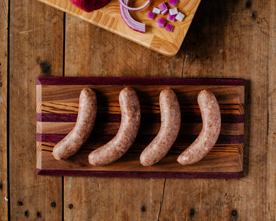 Pasture-raised bratwurst from Marble Creek Farmstead in Sylacauga, AL