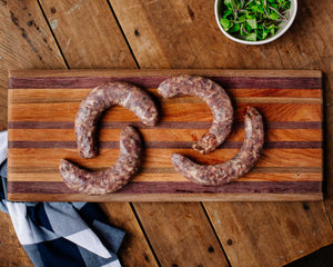 Pasture-raised jalapeno bratwurst from Marble Creek Farmstead in Sylacauga, AL