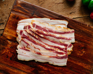 Pasture-raised bacon from Marble Creek Farmstead in Sylacauga, AL