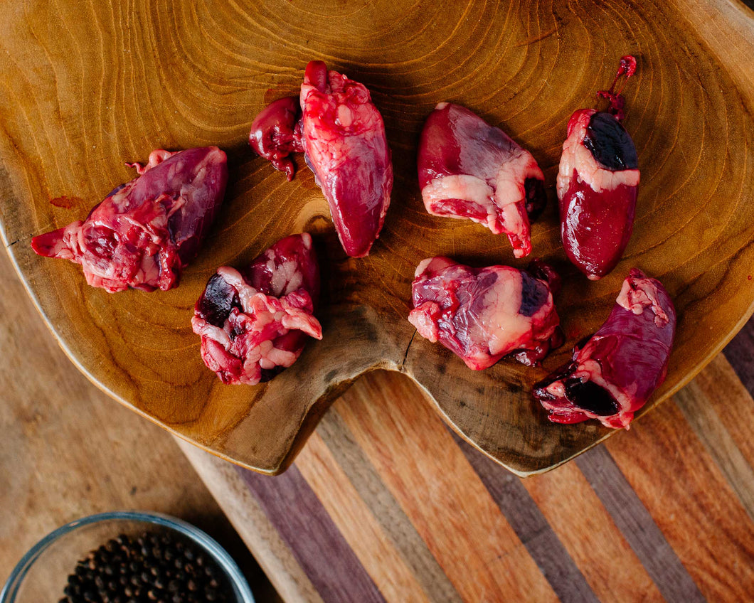 Pasture-raised duck hearts from Marble Creek Farmstead in Sylacauga, AL