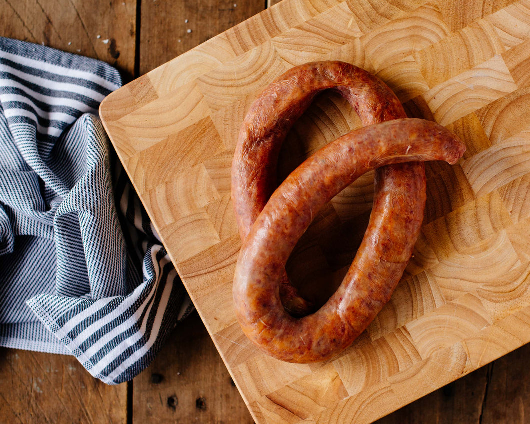 Pasture-raised mild smoked sausage from Marble Creek Farmstead in Sylacauga, AL
